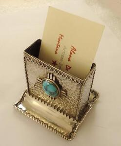 Southwestern Sun Symbol Sterling Silver Turquoise Desk Business Card Holder