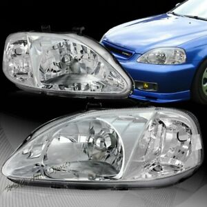 For 1999 2000 Honda Civic Jdm Chrome Housing W Clear Reflector Headlights Lamp
