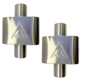 Pair Of Single Chamber Stainless Steel Performance Race Mufflers 2 5