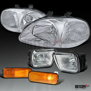 For Honda 1996 1998 Civic Chrome Headlights Clear Fog Lamps Amber Side Marker
