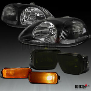 For 1996 1998 Civic Black Headlights Smoke Bumper Fog Lamps Amber Side Markers