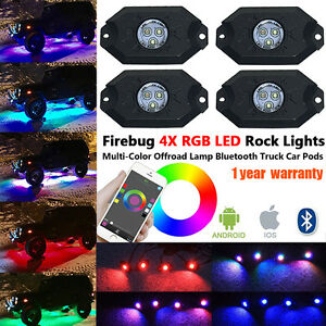 Firebug 4 Pod Rgb Led Rock Lights For Trucks Jeep Rgb Rock Lights Off Road