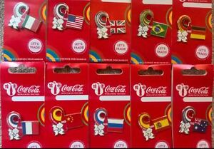 LONDON 2012 OLYMPICS COCA COLA FLAG SET OF 10 PIN BADGES INCLUDES RARE G.B FLAG