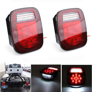 Pair Red white 39 Led Truck Trailer Stud Mount Combination Stop Turn Tail Light