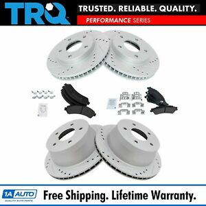 Trq Metallic Brake Pad Performance Drilled Slotted Rotor Front Rear Kit