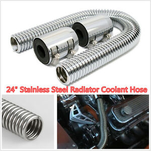 Universal 24 Stainless Steel Radiator Flexible Coolant Water Hose Kit With Caps