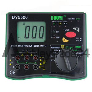 New Dy5500 Insulation Tester earth Tester Meter voltmeter phase Indicator