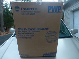 Pactiv Ycah1600000 500 Apet 6 Clearview Hinged Container Plastic 1compartment