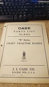 Case R Series Light Tractor Plows Parts List No B412