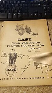 Case Vcmb One Bottom Tractor Mounted Plow Parts List No R i 139