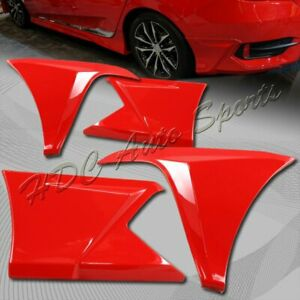 For 2016 2017 Honda Civic 4 dr Painted Red Front rear Bumper Lip Body Kit 4 pcs