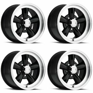 Set 4 15 Vision 141 Legend 5 Black Machined Wheels 15x7 5x4 75 6mm Chevy 5 Lug