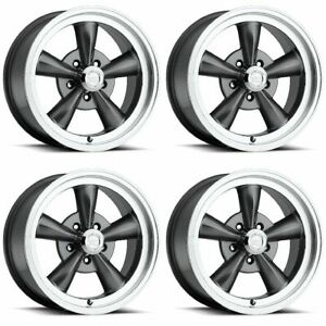 Set 4 15 Vision 141 Legend 5 Gunmetal Vintage Wheel 15x7 5x4 75 6mm Chevy 5 Lug
