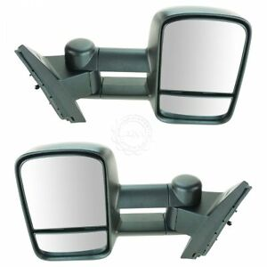 Towing Mirror Manual Glass Power Folding Texture Caps Pair For Chevy Gmc Truck