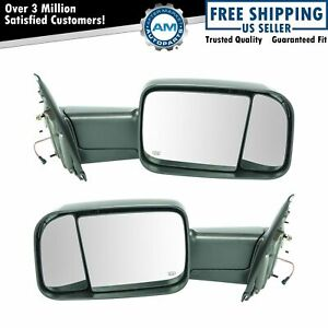 Towing Mirror Power Heated Turn Signal Textured Caps Pair For Dodge Ram Truck