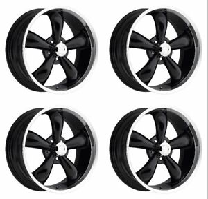 Set 4 18 Vision 142 Legend 5 Black Machined Rims 18x8 5 5x4 75 6mm Chevy 5 Lug