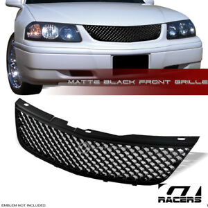 Matte Black For 2000 2005 Chevy Impala Luxury Mesh Front Bumper Grill Grille Abs