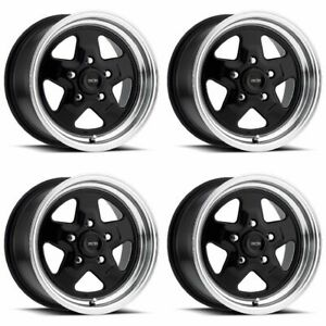 Set 4 15 Vision 521 Nitro Black Polished Rims 15x7 5x4 75 0mm Chevy Buick 5 Lug