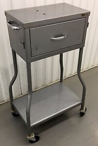 Vintage Metal Clinic Instrument Medical Table Cart Drawer 32 X 18 X 12 Rare