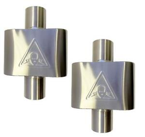 Pair Of Two Single Chamber Stainless Steel Performance Race Mufflers 2 5