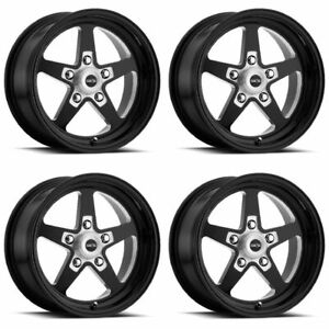Set 4 15 Vision 571 Sport Star Ii Gloss Black Rims 15x7 5x4 75 0mm Chevy 5 Lug