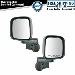 1a Manual Side View Mirrors Folding Pair Set New For 03 06 Jeep Wrangler