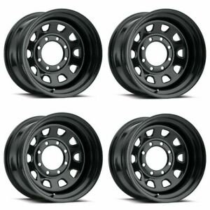 Set 4 15 Vision 84 D Window Black Wheels 15x8 5x5 19mm Jeep 5 Lug 84h5873ns