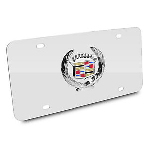 Cadillac 3d Classic Logo On Chrome Stainless Steel Metal Auto License Plate
