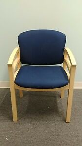 Hon Maple Wood Veneer Guest Chairs With Blue Fabric Seat Back Mint Condition