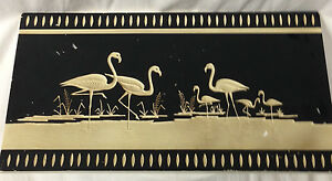 Coventry Ware Chalkware Art Deco Wall Hanging Panel Black White Flamingos 19