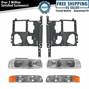 Headlight Parking Light Lamp Mounting Bracket Kit Lh Rh For 99 02 Chevy Truck