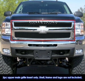 For 2007 2010 Chevy Silverado 2500 Hd 3500 Hd Stainless Black Mesh Grille