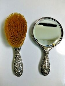 Antique Simon Brothers 1895 Sterling Repouss Floral Brush And Mirror Set