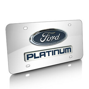 Ford F 150 Platinum Logo And Nameplate Chrome Stainless Steel License Plate
