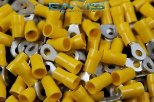 10 12 Gauge 500 Pk Vinyl Ring 8 Connector Crimp Terminal Yellow Wire Auto
