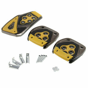 Universal Van Sports Manual Brake Gas Clutch Racing Pedal Pads Cover Yellow
