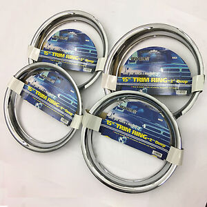 4 Pc Set 15 Chrome Wheel Trim Rings Beauty 2 Depth