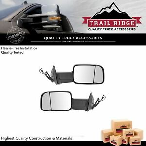 Trail Ridge Tow Mirror Power Folding Heated Signal Puddle Black Pair Set For Ram