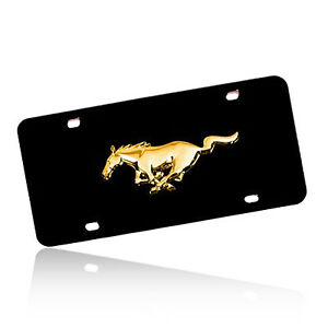 Ford Mustang Gold Pony Emblem Black Stainless Steel License Plate
