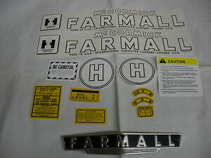 Ihc International Farmall Model H Tractor Decal Set Front Emblem Free Ship