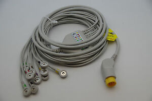 New 12 Leads 10 Wires Ekg Ecg Cable For Mortara Surveyor