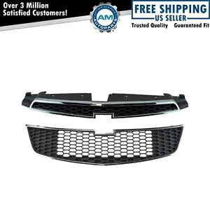 Front Upper Lower Chrome Black Grill Grille Assembly Kit Set Of 2 For Cruze New