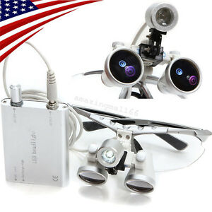 Silver Dental Loupes 3 5x 420mm Surgical Binocular Optical Glass Head Light Lamp