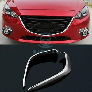 2pcs Chrome Front Fog Lights Eyelid Cover Trim Eyebrow For Mazda 3 Axela 2014 15