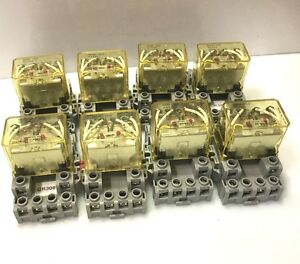 Lot Of 8 idec Rh4b u Ice Cube Control Relay Contact Coil 24vdc 10a 4pdt New