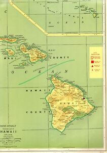 1963 Vintage Hawaii Map Rare Poster Print Size Map Hawaiian Islands Map 3739
