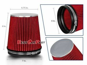 Red Short 6 152mm Inlet Truck Air Intake Cone Replacement Dry Air Filter