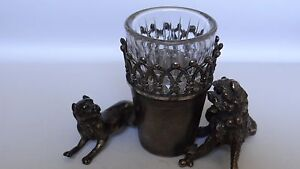 Antique James W Tufts Figural Two Dogs Silverplate Cut Crystal Tooth Pick Holder
