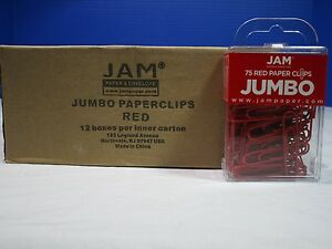 Jam 1 Case Jumbo Red Paper Clips 12 Packs Per Case 75 Ct Per Pack Free Ship