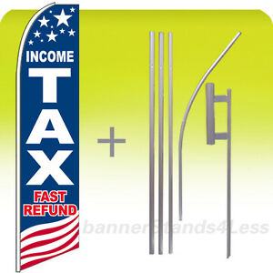 Income Tax Fast Refund Usa Swooper Feather Flutter Sign Banner Flag 15 Kit Bb